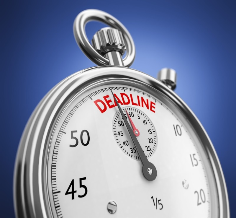 stop watch with hands approaching a time described with the word Deadline